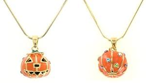 Jack O Lantern 3D Shimmering Enameled Necklace