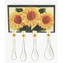 SUNFLOWER Wall Plaque with Measuring Spoon Set NEW!
