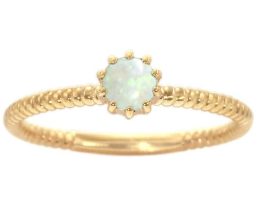 14K Yellow Gold Petite Round Gemstone Solitaire Stackable Ring-Opal, size6.5
