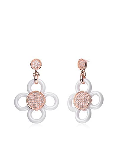 Alberto Moore CZ & White Ceramic 18K Rose Gold-Plated Flower Earrings