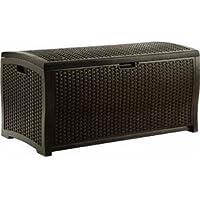 Suncast DBW9200 99-Gallon Mocha Wicker Resin Deck Box