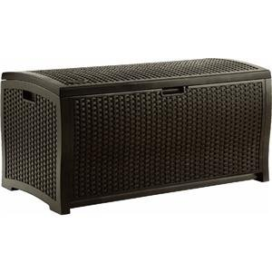 Suncast DBW9200 Mocha Wicker Resin Deck Box, 99-Gallon photo