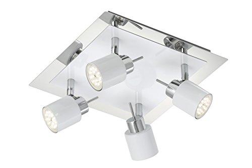 LED Deckenstrahler, Deckenleuchte, Spot, 4 x GU10 LED 5 W, 400 Lumen, Strahler dreh- und schwenkbar, weiß / chrom