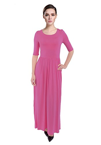 PattyCandy Womens Hot Pink Scoop Neck Maxi Long Dress With Elastic Waistband, Hot Pink - 5XL (Hot Pink Maxi Dress compare prices)