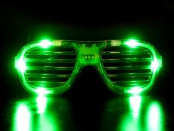 Green Led Slotted Sunglasses Great For Raves Or Parties