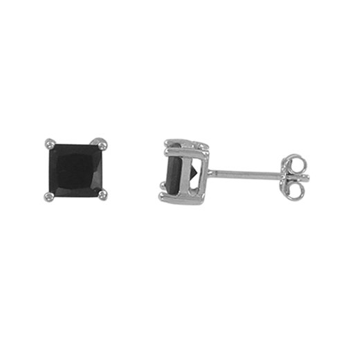 4mm Square Black Cz 925 Sterling Silver Basket Set Stud Earrings