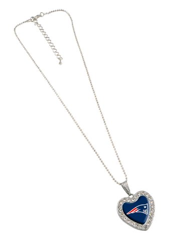 NFL New England Patriots Reversible Crystal Heart Pendant with 16