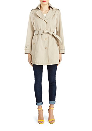 Trench Coat with Hood in Tan
