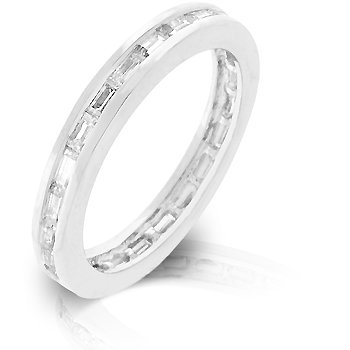White Gold Rhodium Bonded Stacker Eternity Ring featuring Channel Set Clear CZ Baguettes Embedded in the Band in Silvertone