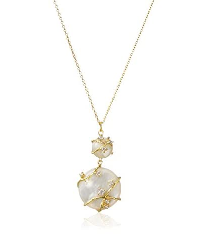 Indulgems White Mother-of-Pearl & CZ Vine Necklace