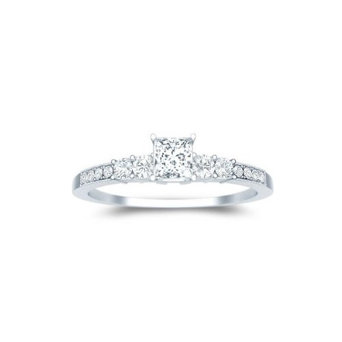 0.6 Carat Princess cut Diamond Affordable Diamond Ring On 10K White Gold