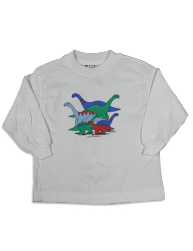 Mis Tee V-Us - Baby Boys Long Sleeve Brontosaurus Dinosaur T-Shirt, White 27078-18Months front-101953