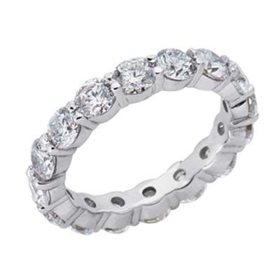 14k White Shared Prong Eternity 4 Ct Diamond