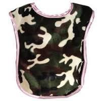Reversible Bib In Camouflage Tan Fleece Brown Gingham Check Trim front-984601