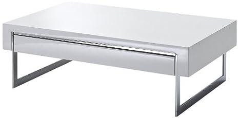 Robas Lund Couchtisch Wohnzimmertisch Cooper Hochglanz weiß 110 x 70 x 40 cm 58133CW4