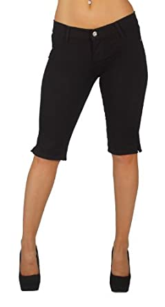 Basic Bermuda Shorts Premium Stretch French Terry Moleton With a gentle butt lifting stitching in Black Size XS