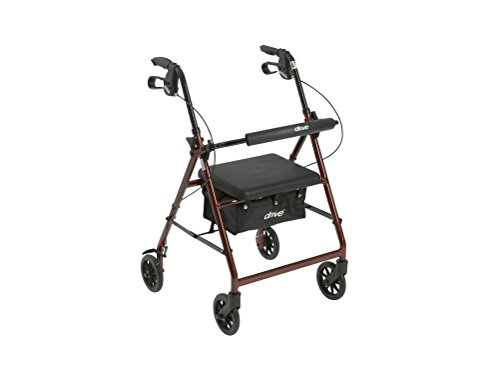 Drive Medical Aluminum Rollator Walker Fold Up and Removable Back Support, Padded Seat, 6″ Wheels, Red