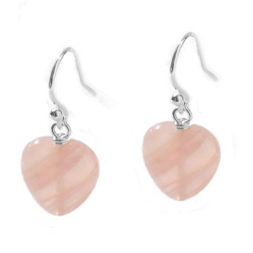 Rose Quartz Heart 925 Sterling Silver Drop Earrings