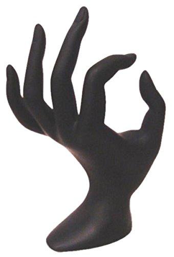 Mano CLASSICA NERA espositore porta anelli resina SPLENDIDA VETRINA BANCONE