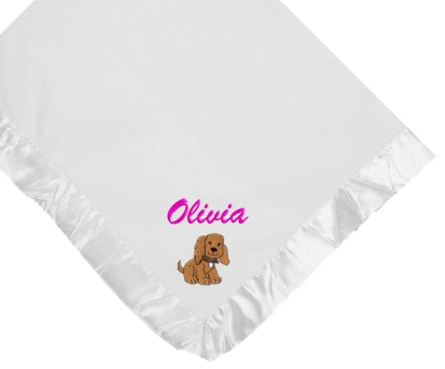 Dog White Soft Fleece Embroidered Personalized Baby Blanket - Custom Embroidery Navy Thread front-1008225
