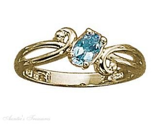 Gold Vermeil Blue Topaz Ring Size 8