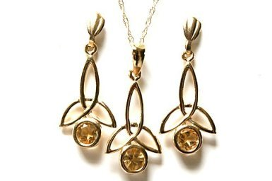 9ct Gold Citrine Celtic Pendant, chain and Earring set