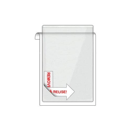 "Storesmart® Remove & Reuse Peel & Stick Plastic Pocket - 100 Peel & Stick 4"" X 6"" Pockets - Open Short Side - Vinyl Plastic (Psr1888S-100) front-636165"