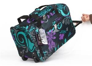 Men And Womens Girls Large 26 Black With Purple Green Zodiac Trim Design Wheeled Holdall Travel Luggage Holdall Weekend Bag Maternity Bag Hospital Bag Baby Bag School College Holdall Sport Gym Bag