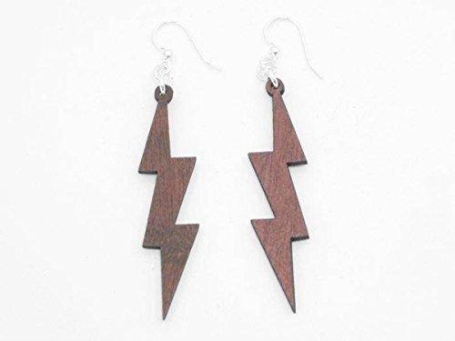 [Pink Lightning Thunder Bolts Wooden Earrings Jewelry] (Thunder Lightning Costume)
