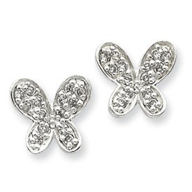 Sterling Silver Small CZ Butterfly Post Earrings