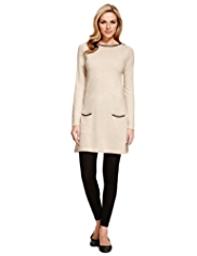 M&S Collection Faux Leather Trim Knitted Tunic