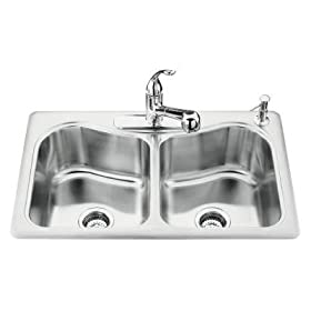 KOHLER K-3369-4-NA Staccato Double-Basin Self-Rimming Kitchen Sink