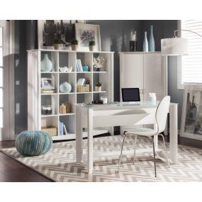 Writing desk with 16 Cube Bookcase and Tall Storage unit.