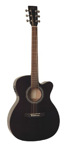 Recording King Rom-06-Cfe4 Om Style Acoustic/Electric Guitar, Black-With Three Free Aaa Musical Picks