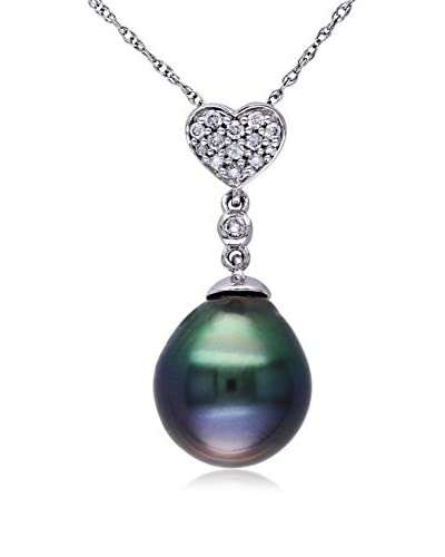 Michiko 10K White Gold, Diamond & 9.5-10 mm Tahitian Pearl Pendant Necklace