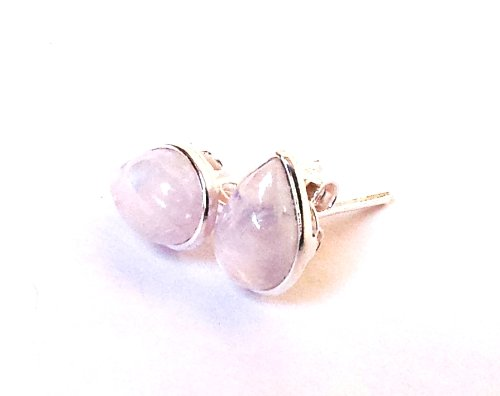 Shanya Sterling Silver Stud Earrings Rainbow Moonstone Pear Cabochon 6X9 mm