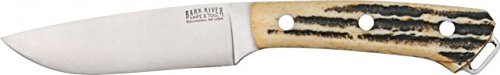 Bark River Fox River Hunter Fixed Blade Knife, Tool Steel Drop Point Blade, Antique Stag 130Wbash