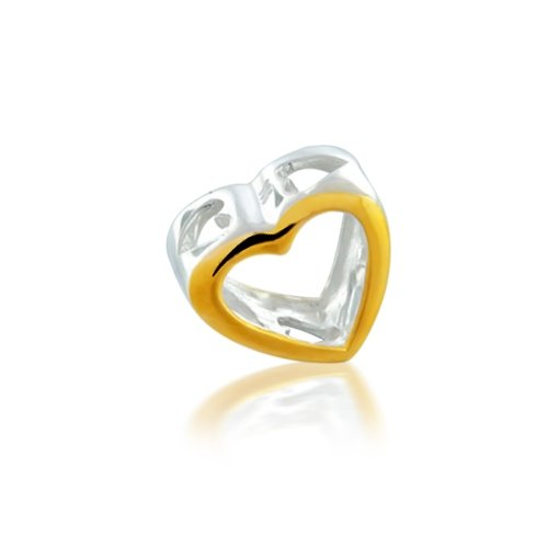 Bling Jewelry 925 Sterling Silver Gold Open Heart Bead Pandora Chamilia Biagi Bead Compatible
