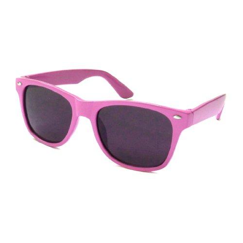 Kids Childrens Wayfarer Retro Style Neon Color Cute Sunglasses Purple (Age 3-10)