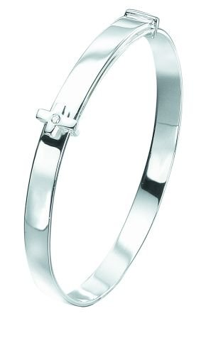 D for Diamond Sterling Silver B2660 Boys Diamond Set Cross Expanding Bangle