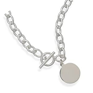 toggle necklace with engravable tag sterling silver