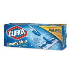 Clorox Company Products - Ready Mopping System, Mop, Floor Cleaner and Pads - Sold as 1 KT - Trigger-on specially designed mop lets you control the amount of cleaner used. Swivel head gives you the maneuverability to reach hard-to-clean places. The ready-to-use Advanced Floor Cleaner is formulated to quickly dissolve dirt and grease. Because cleaner fits on board, you don't have to fill a bucket with water or mix your own solution. Disposable Absorbent Cleaning Pad takes the dirty liquid away fr