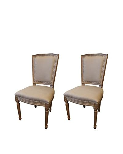 White x White Set of 2 Anton Dining Chairs, Flax/Natural Brown