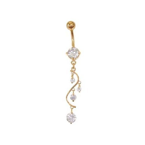 Gold CZ Long Unique 4 Dangle Belly Navel Piercing Body Jewelry - Free Shipping