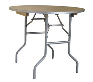 Folding Table - Heavy Duty Three Foot Round Wood Table with Aluminum Edge Free Shipping