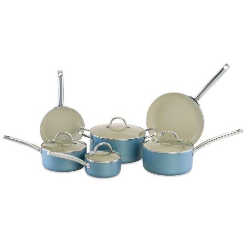 CeraStone CCJES03 Earth Series 10-Piece Ceramic Non Stick Cookware Set, Blue