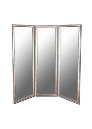 Soft Gold Panel Mirror with Silver Trim Accents