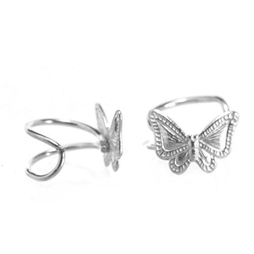 Parure in argento Sterling, motivo: piccolo Orecchino senza necessità di foro, con dettaglio, motivo: farfalla