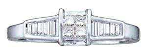Pricegems 14K White Gold Ladies Princess and Baguette Diamond Invisible Set Channel Set Quad Wedding Engagement Promise Ring (1/4 cttw, H-I Color, I1/I2 Clarity, Ring Size: 5)