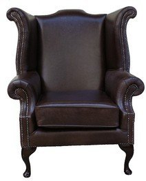 Saxon Chesterfield Queen Anne Wing schienale alto Old English rosso marrone